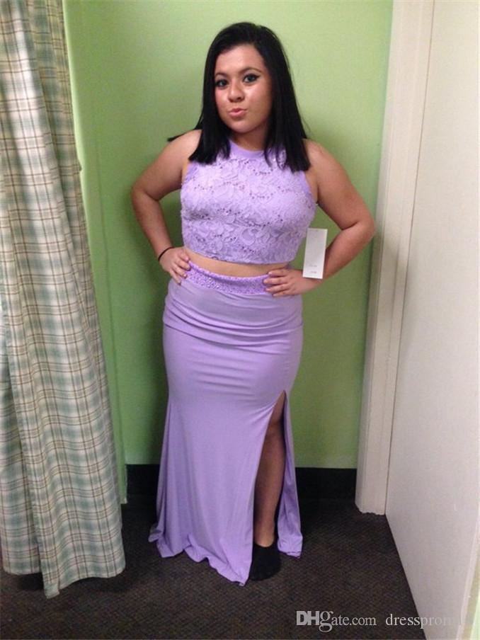 Lavender Two Piece Lace Appliqued Top Slit Plus Size Jersey Prom