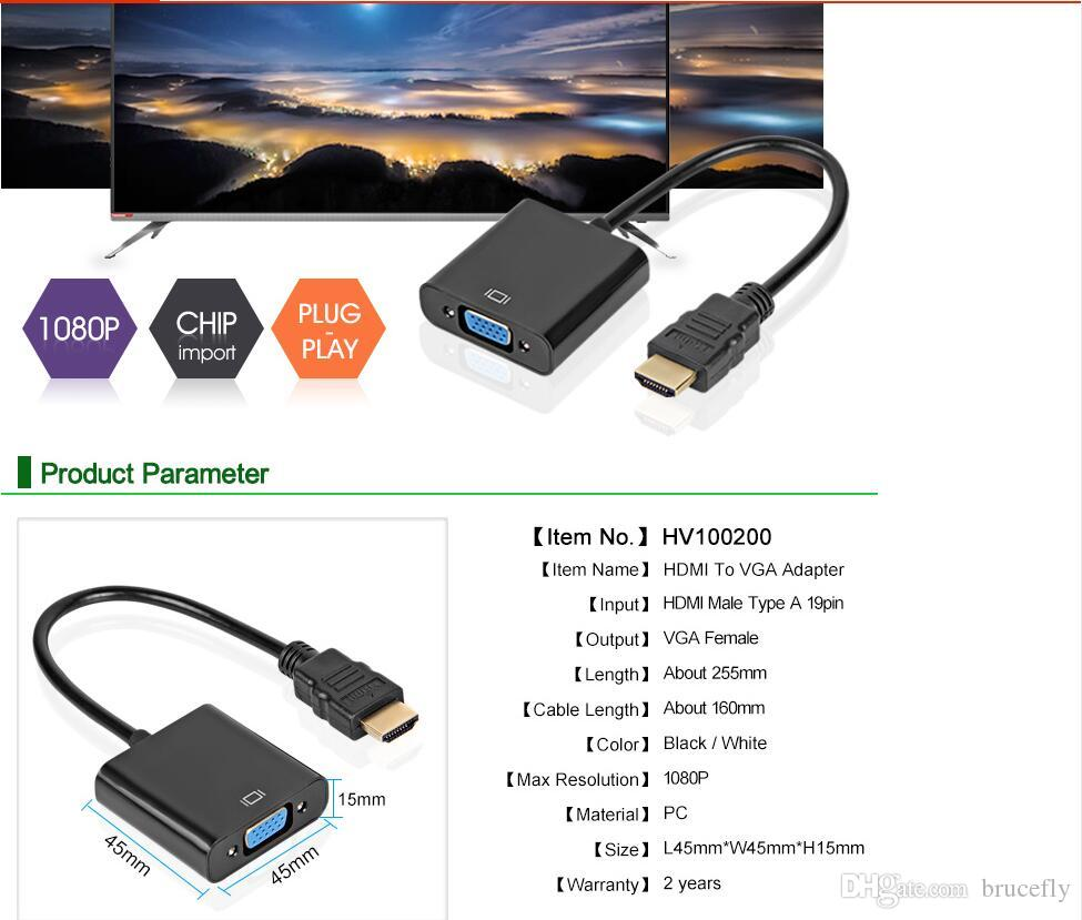HDMI to VGA Adapter Male To Famale Converter Adapter 1080P Digital to Analog Video Audio Cable For PC Laptop Tablet
