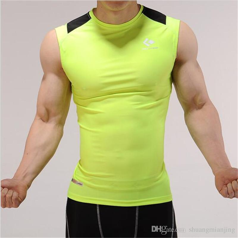 bf11da6eda Men's Compression Gym Clothing Fitness Base Layer Tank Top Sleeveless Vest  Crossfit Quick Dry Fit Shirt for Man Training