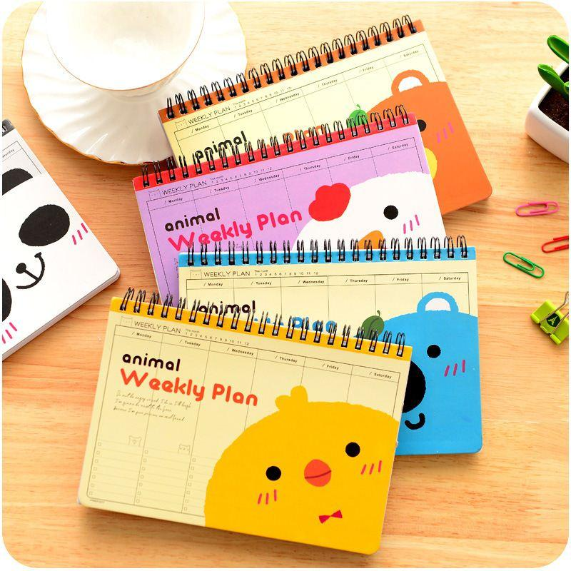 cute animal weekly plan coil spiral notebook diary book agenda