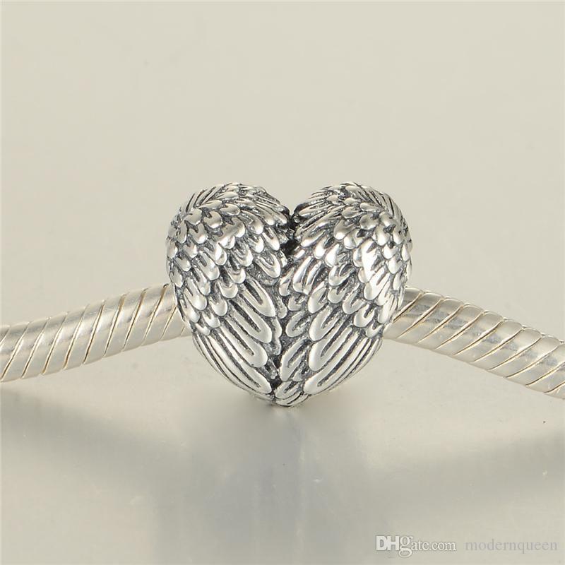 Angelic Piumes Charm S925 Sterling Silver Jewellery Adatta Bracciale e collana stile Pandora 791751