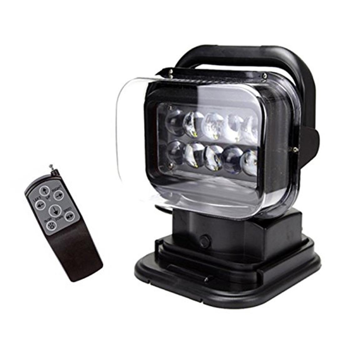 black 12v 24v 50w 360 cree led rotating remote control work light spot for suv boat home. Black Bedroom Furniture Sets. Home Design Ideas