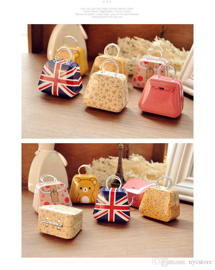 DHL LIVRE meninas bolsa de metal saco de ferro Mini Armazenamento lata pequena lata crianças caixa de moeda caixas de doces crianças