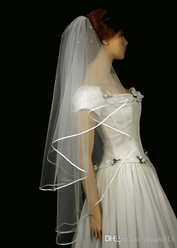 New Hight Qualityr Günstige Beste Verkauf Zwei Schicht Fingertip Länge Weiß Elfenbein Band Rand Schleier Braut Kopfschmuck Für Brautkleider