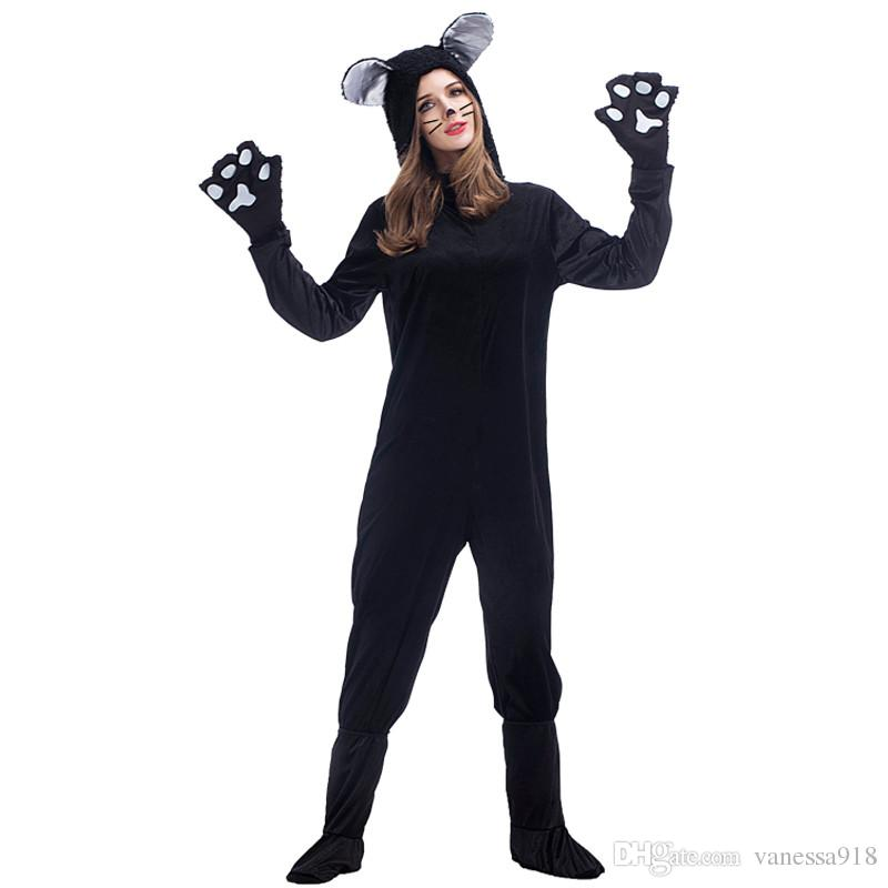 Halloween Black Cat Cosplay Costumes For Adult Women Pajamas Animal Black Dog Bear Clothing Unisex Cat Onesies Suit with free gift bagPS014