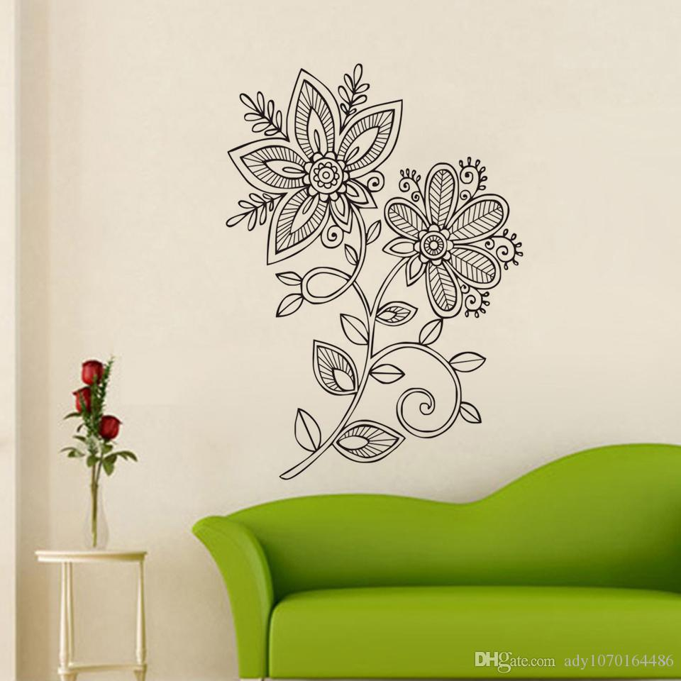 Mehndi wall decals vinyl removable mandala lotus wall stickers mehndi wall decals vinyl removable mandala lotus wall stickers home decor living room flower art murals design pattern sticker large stickers for walls amipublicfo Choice Image