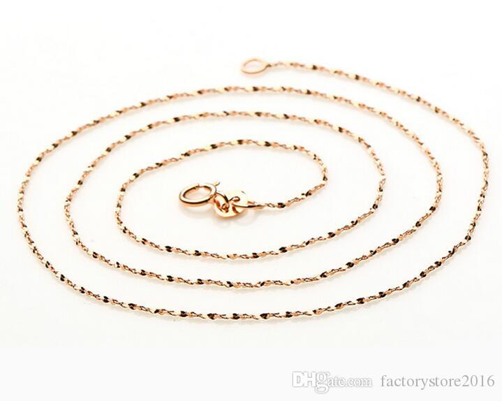 """18"""" Genuine 925 Sterling Silver Jewelry Chains Necklace Rose Gold Chains Necklace+ Clasps 925 Tag Snake Chain Cross Chain Box Chain"""