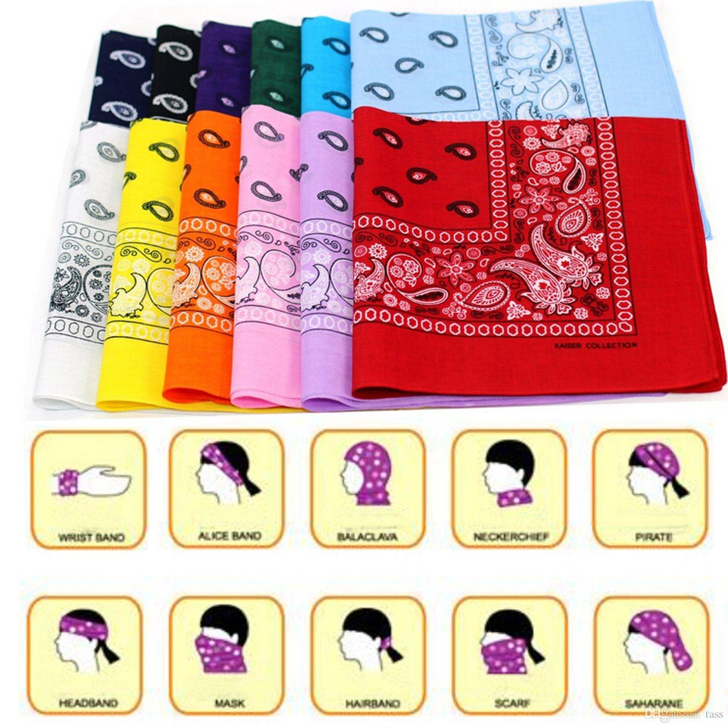 Top Quality National 100% Cotton Paisley Bandana Double Side Head Wrap Scarf Wristband Fast Shipping