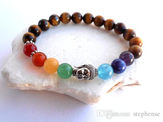 SN0571 New Buddha Chakra Armband Tigerauge Chakra Armband Yoga Meditation Armband für Mädchen Silber Buddha Armband Freies Verschiffen