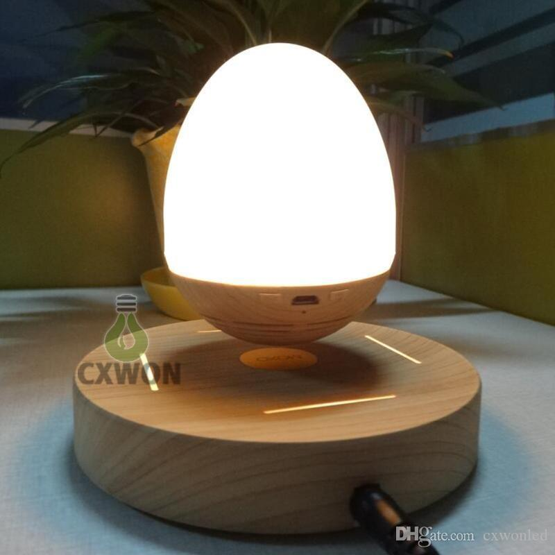 Madeira Speaker Floating Noite luz sem fio Bluetooth 4.0 Magnetic Levitation Mini Rotating Som Música Speaker 3W para a lâmpada noite quarto