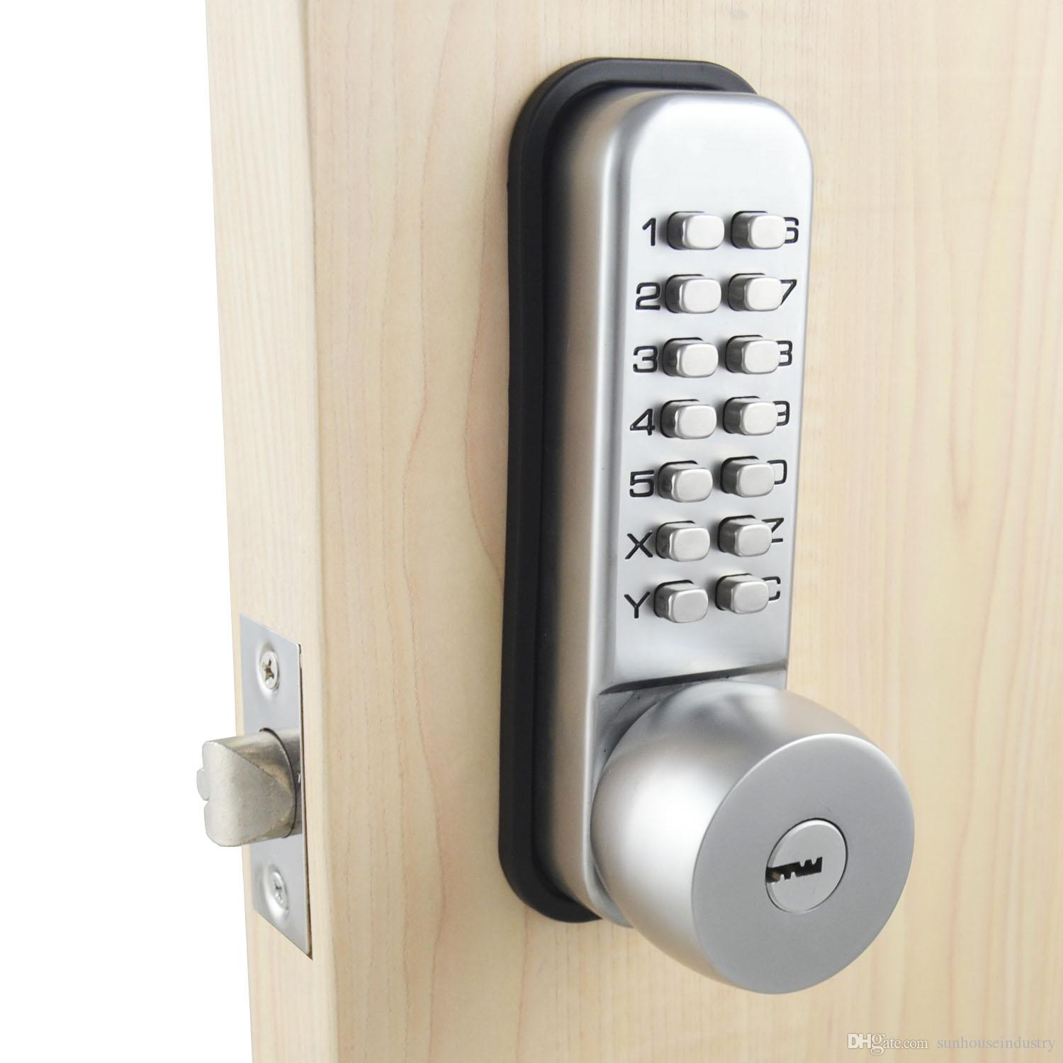 mechanical password door lock bedroom code locks with 3 keys color silvery online with. Black Bedroom Furniture Sets. Home Design Ideas