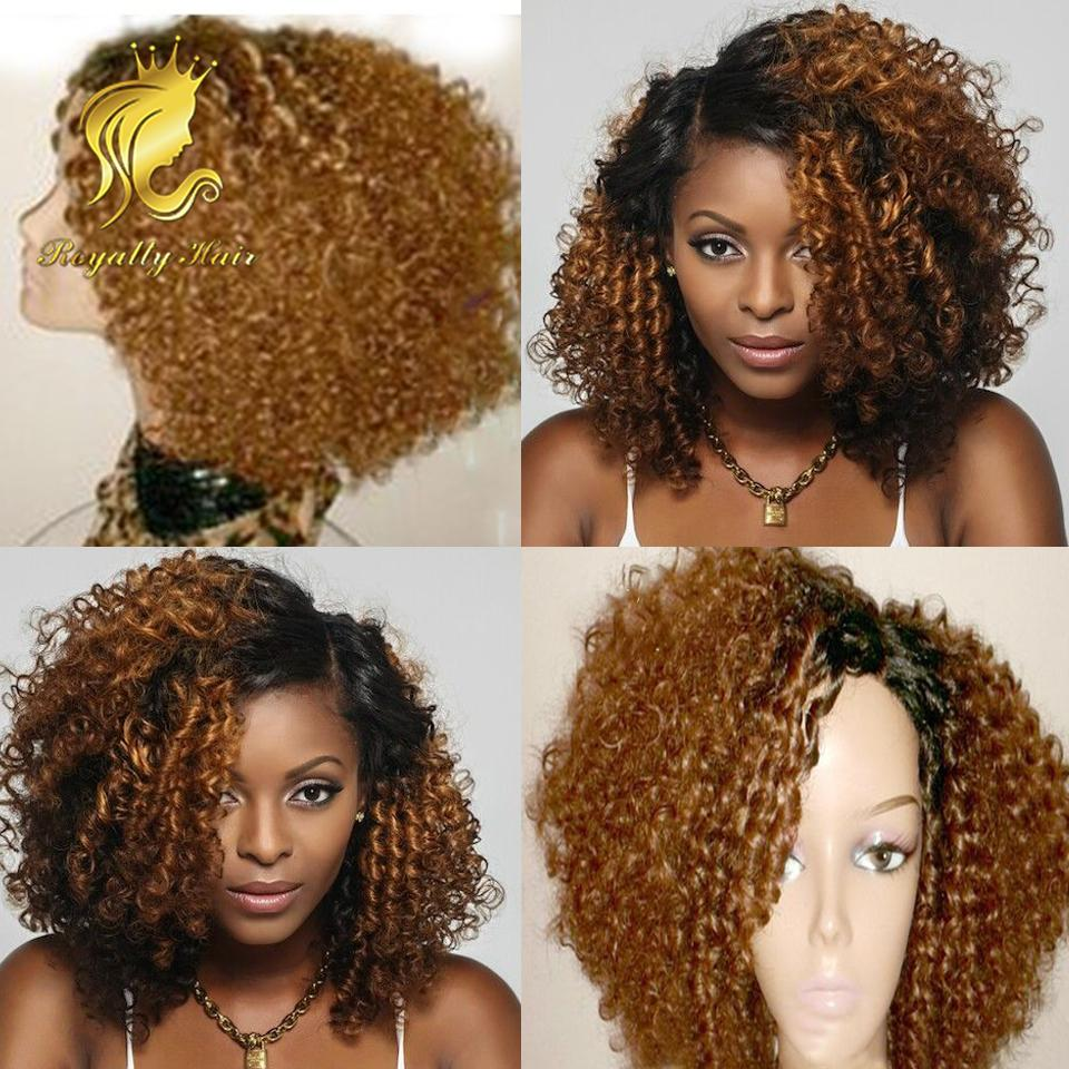 Ombre afro kinky curly Brazilian Full Lace Human Hair Wig ombre #1b 27 front lace wigs curly human hair wig for black women