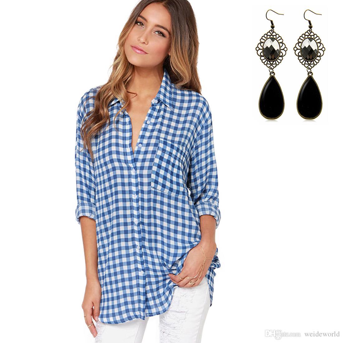 Women'S Blouse Boyfriend Style Casual T Shirt Plaid Oversized Long ...