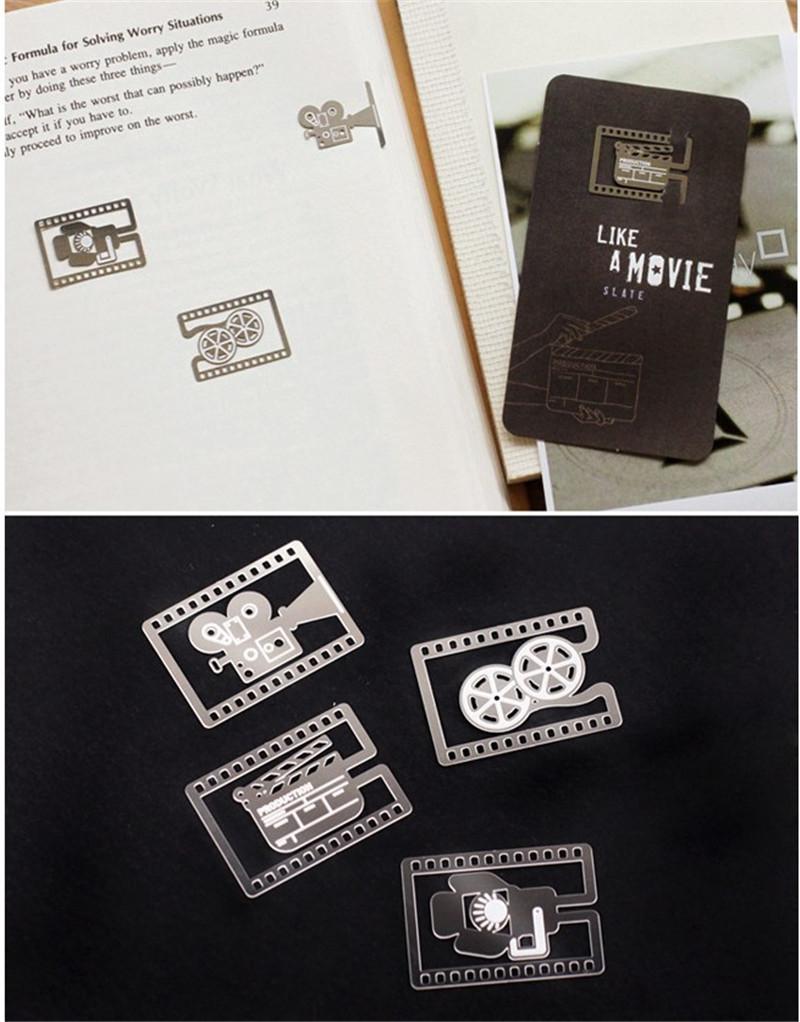 Bookmark Altın Kaplama Bookmark Like a Film Kamera Film Reel Slate Film Lighthing Düğün Altın Metal Paragraf Yaratıcı Çoklu Tasarımlar