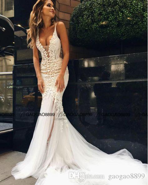 Pallas Couture 2019 кружева цветочный длинный поезд Русалка пляж свадебные платья на заказ V-образным вырезом полная длина рыбий хвост свадебное платье