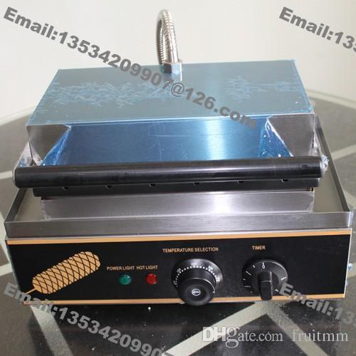Trasporto libero uso commerciale non stick 110 v 220 v elettrico francese hot dog waffle maker macchina Baker con supporto in acciaio inox stand