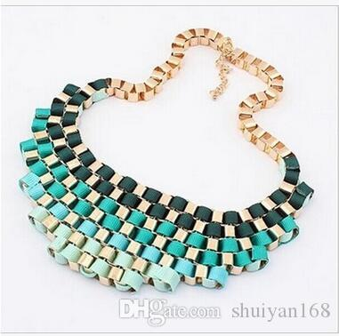 Retro Metal Collar Jewelry Fashion Temperament Exaggerated Bib Multicolor Chokers Necklace Women Dress Jewelry Party Jewelry DHL