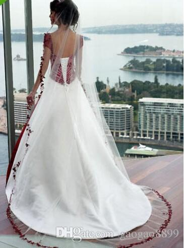 Vintage Cream And Burgundy A-line Wedding Dresses 2019 Square Cap Sleeve Court Train Lace-up Country Garden Gothic Wedding Gowns