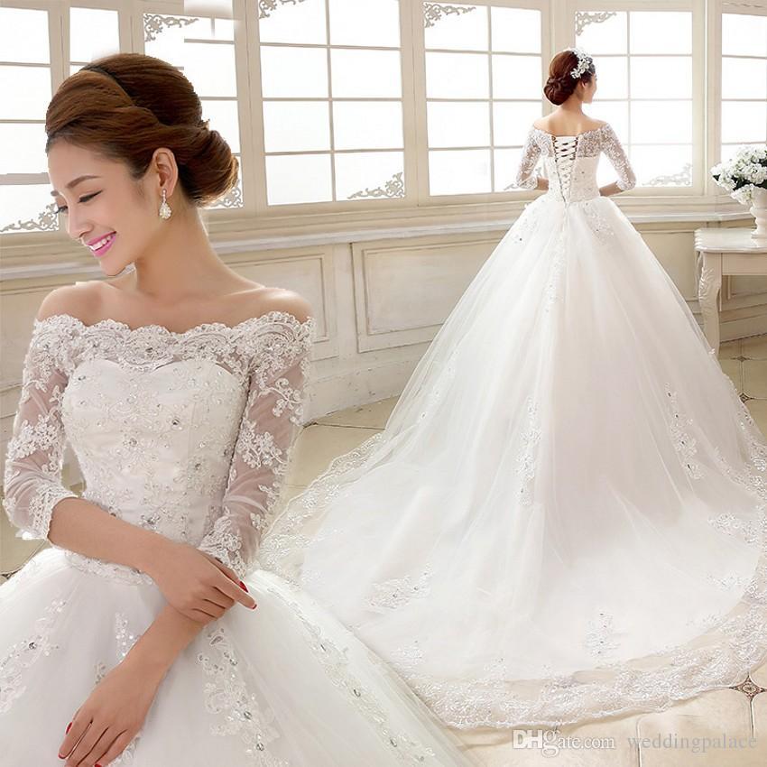 Discount Elegant 2018 White Lace Wedding Dresses Boat Neck