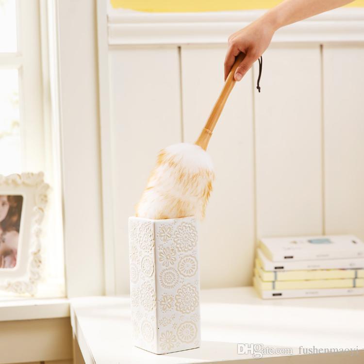 Heißer Verkauf Pure Lampswool Duster Buche Griff Haushaltsreinigung Dusters Housekeeping Reinigungswerkzeug Staubwedel Großhandel und freies Verschiffen