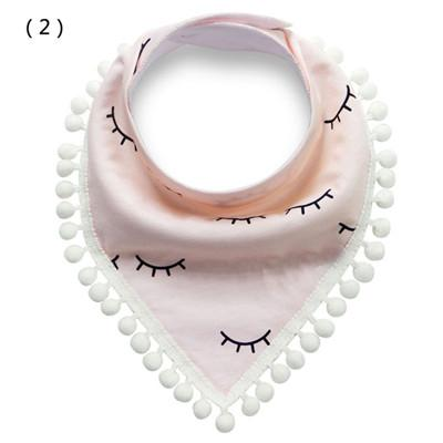 2019 Infant saliva towel Pure cotton lace cartoon double triangle towel bib in the new baby bib
