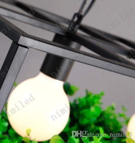 Nimi698 L55 / 65 cm Creative Arts Lámpara Retro Cafe Bar Restaurante Araña Maceta Plantas Terraza Salón colgante de hierro forjado Luces de iluminación