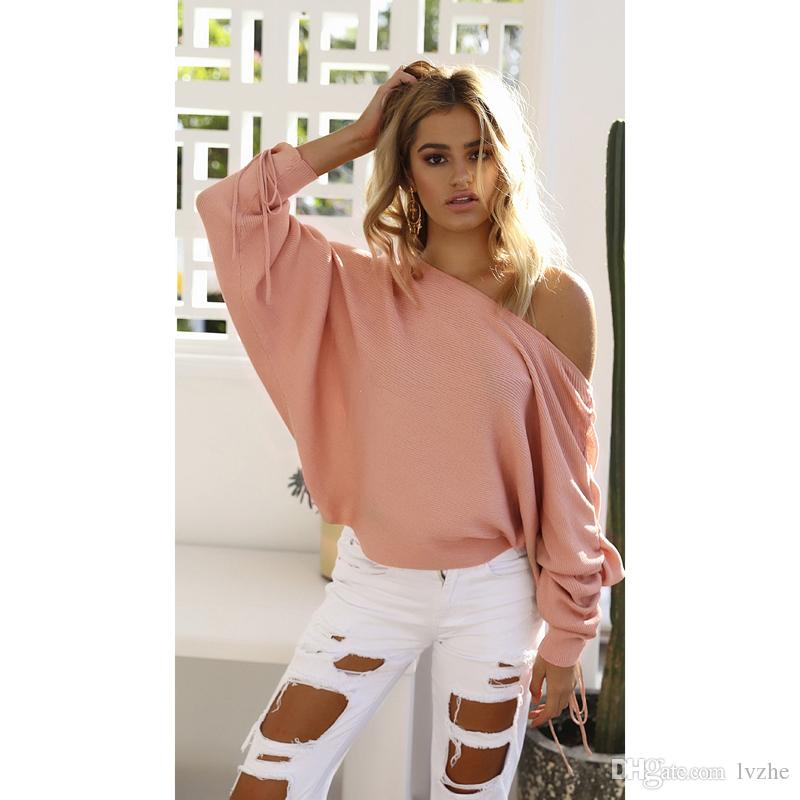2017 Autumn Women Ladies Long Sleeve Off Shoulder Knitted Crochet Loose Batwing Sweater Jumper Tops 4 Size
