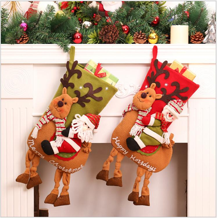 2017new year 5323cm christmas stockings children candy gift bag santa bag elk the old man snowman candy bags old world christmas ornaments on sale