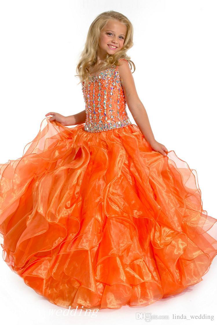 Sugar Orange Girl's Pageant Dress Princess Beaded Ruffles Party Cupcake Prom Dress For Short Girl Pretty Dress For Little Kid
