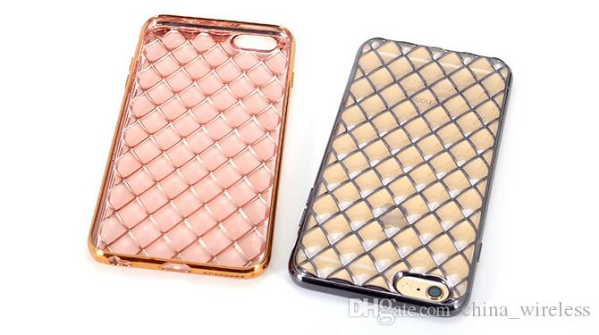 For iPhone SE 5 6 6s 6 Plus Luxury Crystal Lambskin Electroplating Soft Gel Silicon TPU Back Cover Case for Samsung S6 S7