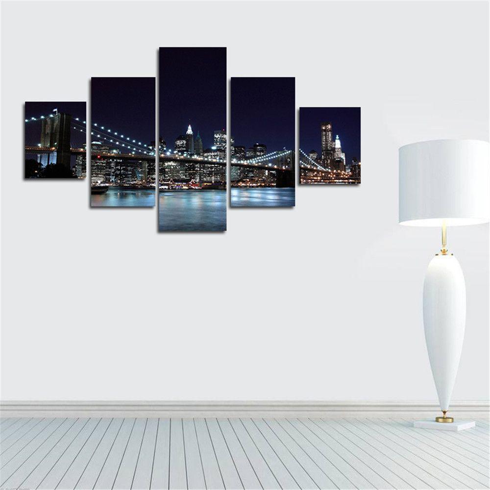 Canvas Prints New York City Famous Brooklyn Bridge Painting Wall Art ...