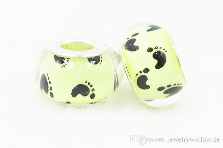 Bonito Pé Impressão Plástico Bead Bead Substituição 925 Banhado A Prata Moda Feminina Jóias Estilo Europeu Para Pandora Pulseira Colar