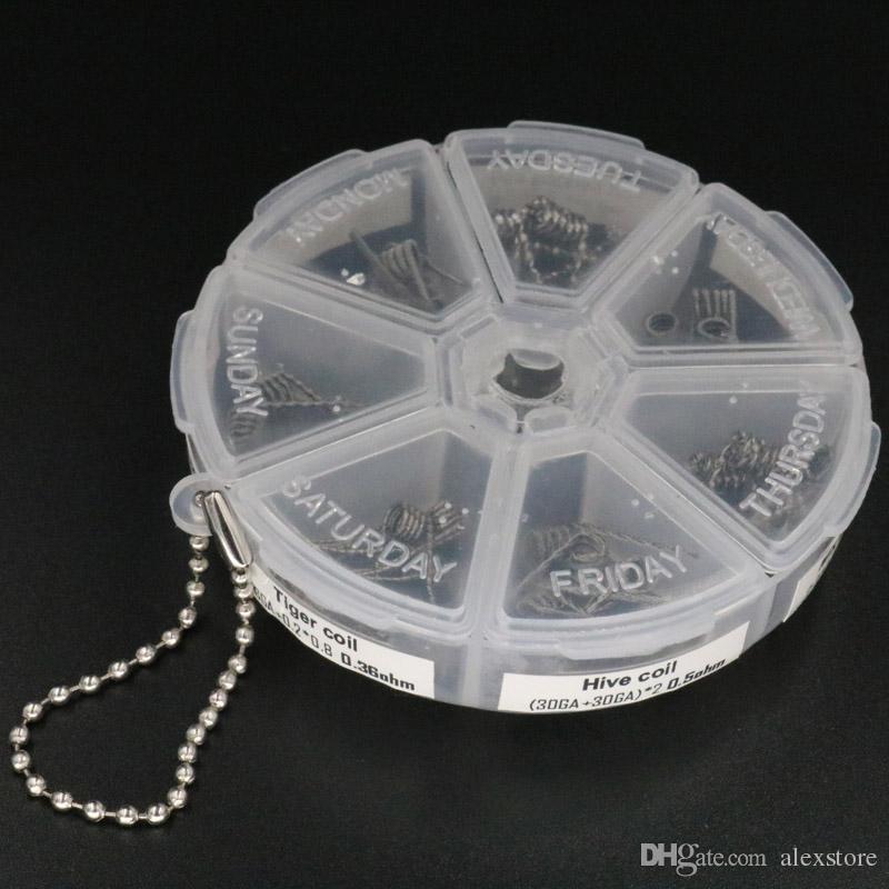 7 en 1 Kit de boîte de bobines préfabriquées Plat tordu en fusion Clapton fusionné Hive premade wrap fils Alien Mix tordu Tigre DIY DHL