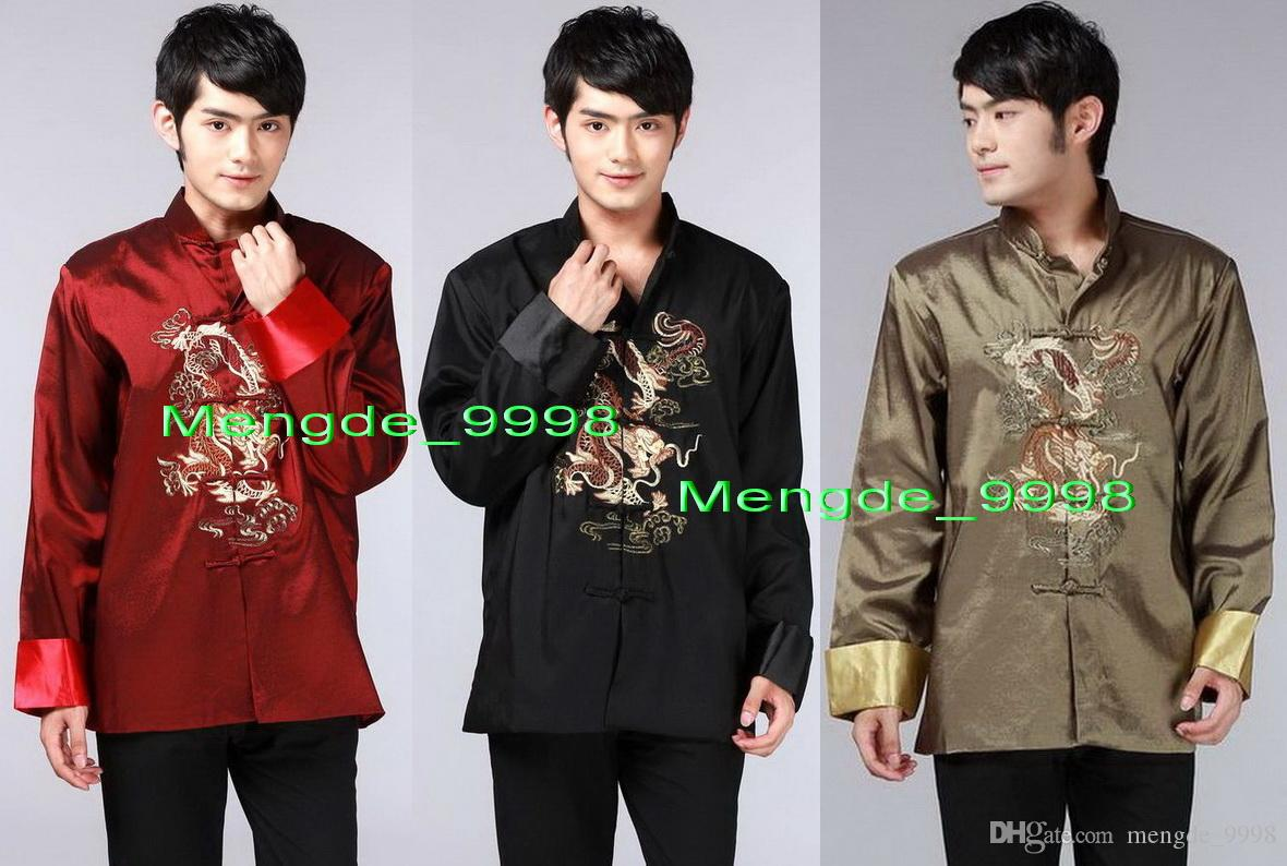 Casual Shirts Spring Toys White Chinese Mens Cotton Kung Fu Shirt Top Novelty Embroidery Tang Suit Clothing Size S M L Xl Xxl Xxxl Men's Clothing
