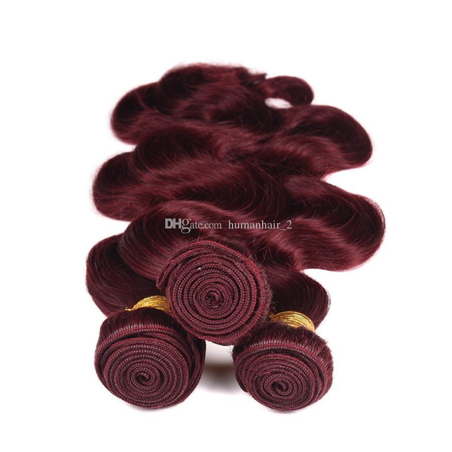 9A Brasileiro Borgonha cabelo Com Fechamento de Renda Frontal 13x4 polegadas Onda Do Corpo # 99J Vinho Vermelho Feixes de Cabelo Humano Com Orelha a Orelha Frontal Completa