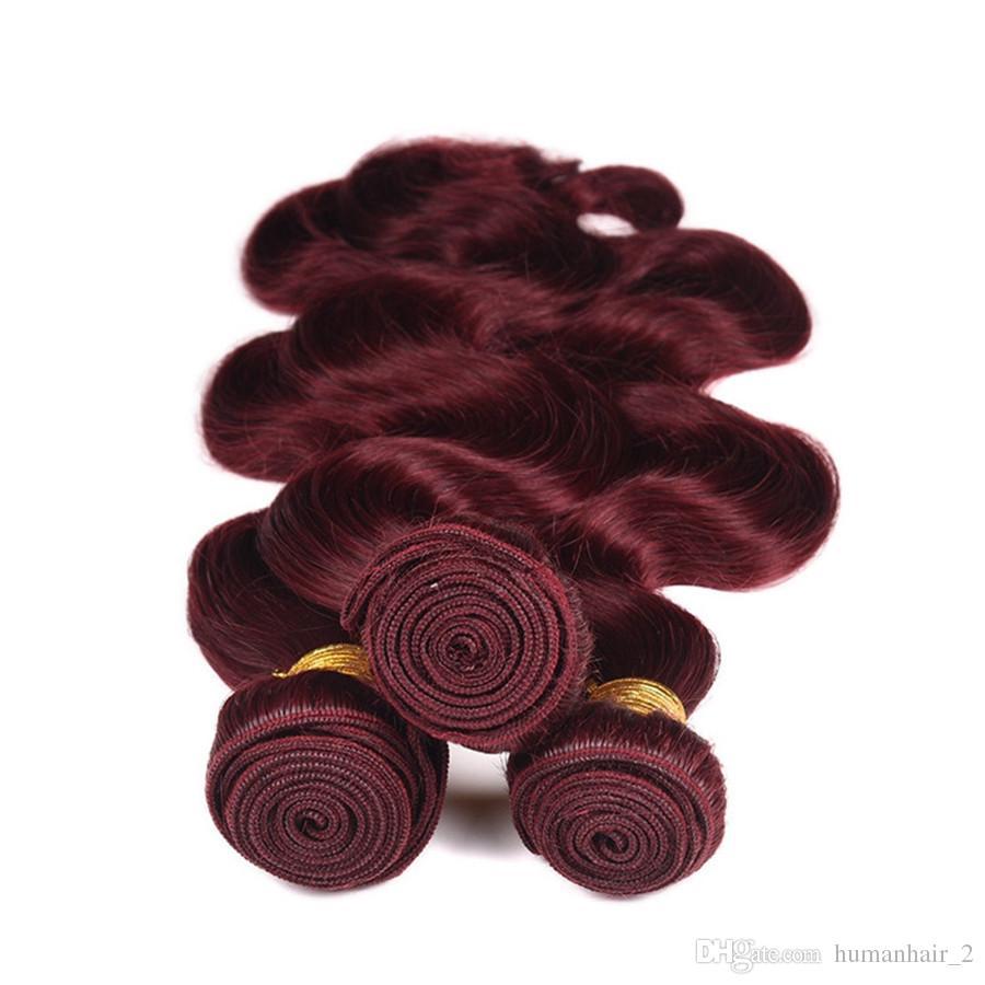 9A Brezilyalı Bordo saç Dantel Frontal Kapatma Ile 13x4 inç Vücut Dalga # 99J Şarap Kırmızı Insan Saç Demetleri Ile Kulak Kulak Tam Cepheler