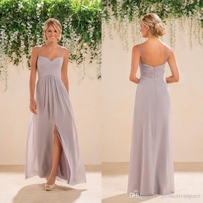 c1954ecd5 2016 Nueva llegada Sexy Silver Chiffon Beading Sweetheart Una línea con  Split por encargo largos vestidos de dama de honor para el banquete de boda