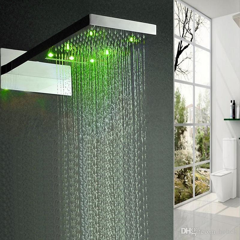 2 기능 304 스테인레스 스틸 높은 흐름 rainshower 벽 상단 욕실 수도 꼭지 듀얼 비 및 폭포 샤워 헤드 마운트