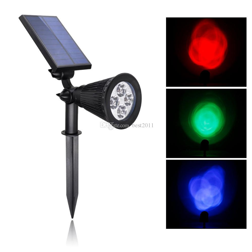led outdoor solar spotlight rgb multi colored 4 led adjustable landscape lighting waterproof wall light for outdoor garden decorations from best2011
