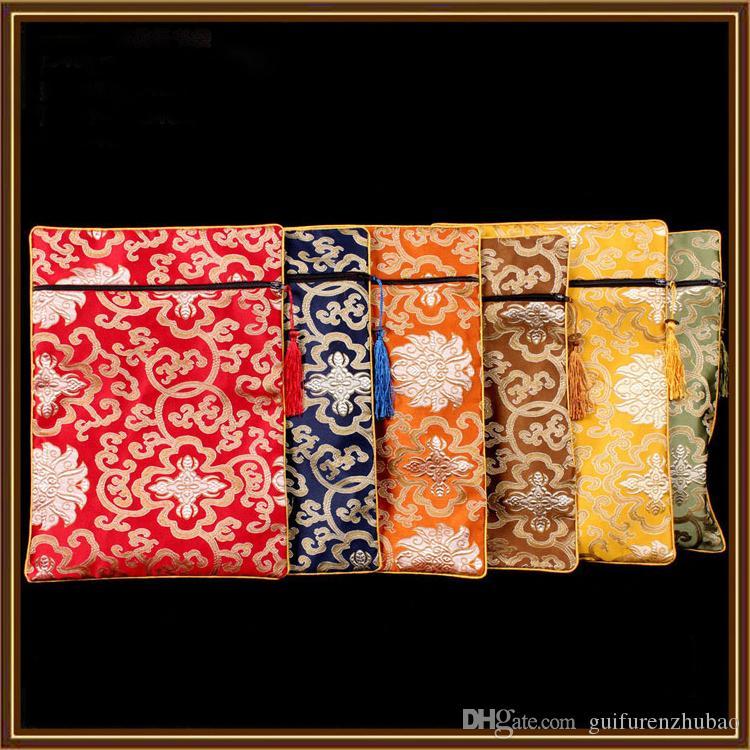 2016 nuevo rectángulo borla de joyería bolsas zip collar de madera de viajes de maquillaje peine regalo Bolsa de Mujeres de China brocado de seda empaquetado cosmético de la bolsa
