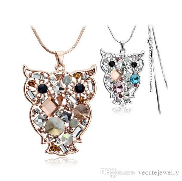 18K Gold Silver Plated Austrian Crystal Owl Necklace for Women Sweater Long Chain Made With Swarovski Elements Nice Gift Wedding Jewelry