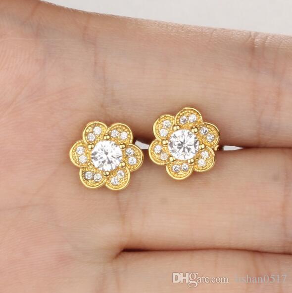 49eb78ca26e6f AAA+ Flower Design 18K Gold Plated Woman Stud Earrings Women Girls  Friendship Jewelry KE634