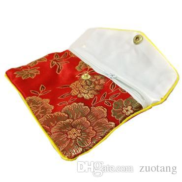 Small Zipper Coin Purse Pouches Gift Bags for Jewelry Chinese Silk Pouches Credit Card Holder Women Bag Wholesale 8x10cm 10x12cm