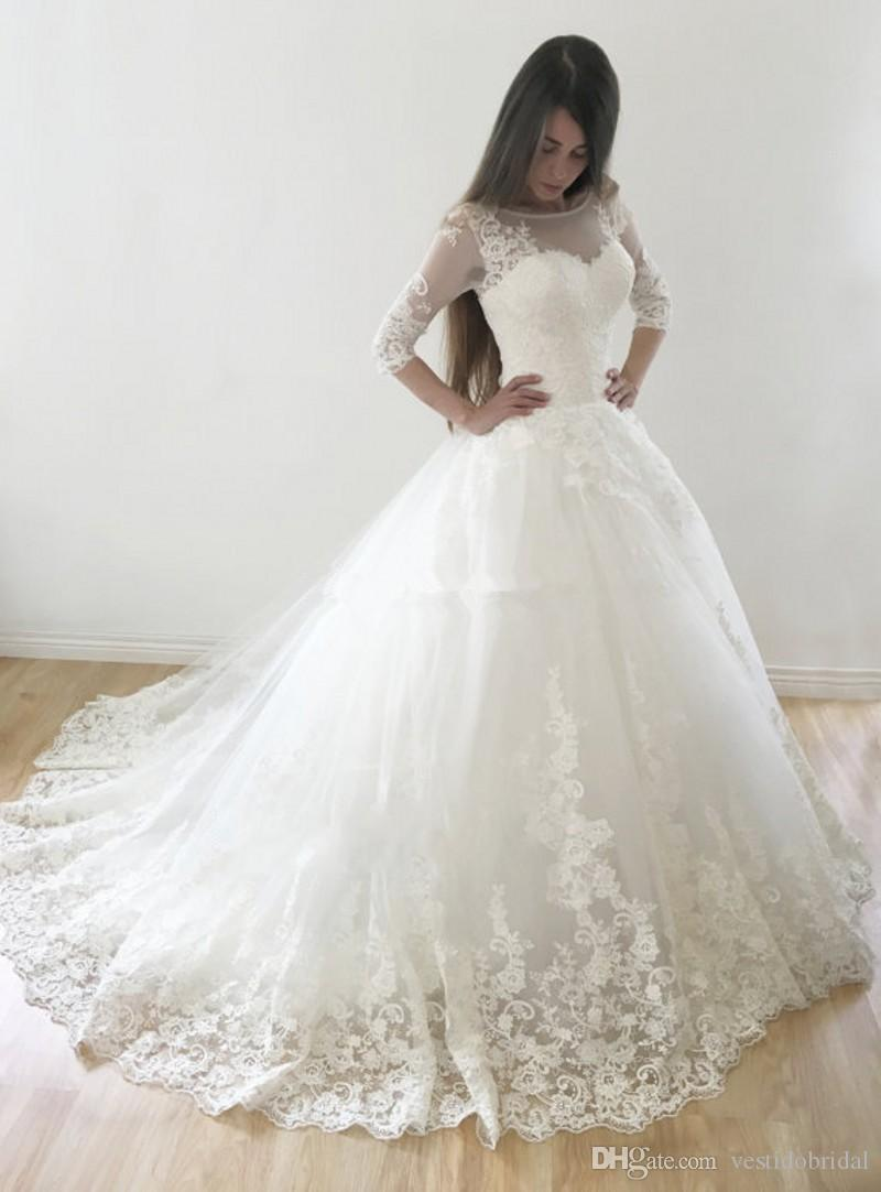 Cheap Vintage Ball Gown Country Wedding Dresses With 3/4 Long ...