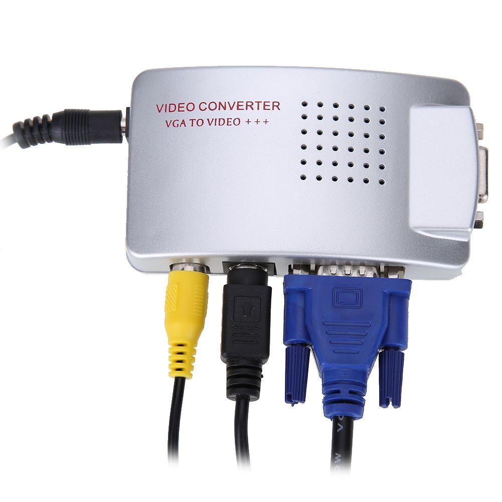 Freeshipping PC Laptop Composite Video TV RCA Composite S-Video AV In To PC VGA LCD Out Converter Adapter Switch Box