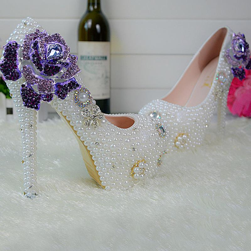 Fait à la main Modèle Motif Perle Blanche Chaussures De Mariage Rose Fleur Style Strass Femmes Pompes Demoiselle D'honneur chaussures Taille 34-45