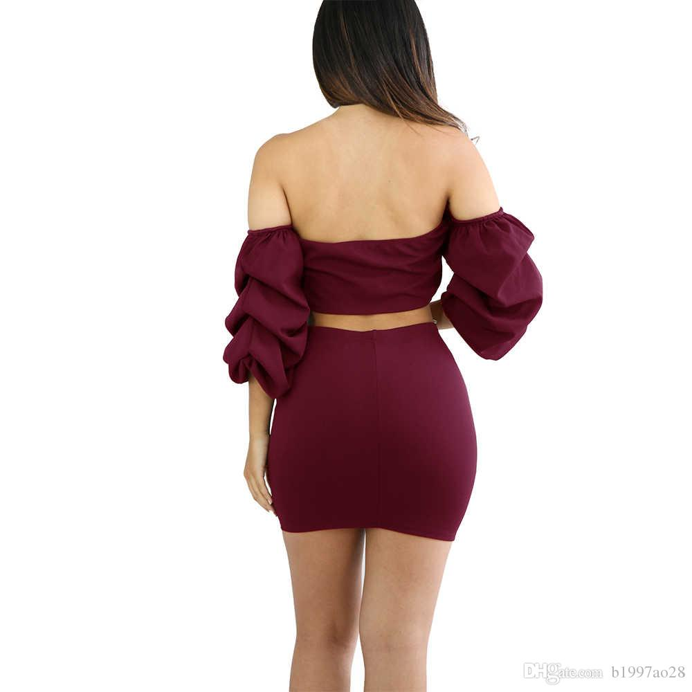 2017 brand new sexy party dresses Wrap chest Layer column Sleeve bandage Two piece suit Night clothes