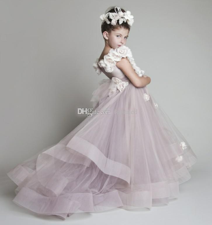fc25fe5dc9c6 New Lovely New Blush Pink Tulle Ruffled Handmade Flowers One Shoulder  Vinatage Wedding Flower Girls' Dresses Girl'S Pageant Dress 2017 Cheap Girls  Dresses ...