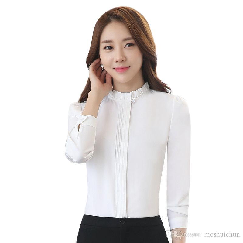 83591423734 2019 Fashion Women Long Sleeve Shirt New Slim Cotton Stand Collar Elegant  Blouse Black White Office Work Plus Size Clothes Tops From Moshuichun