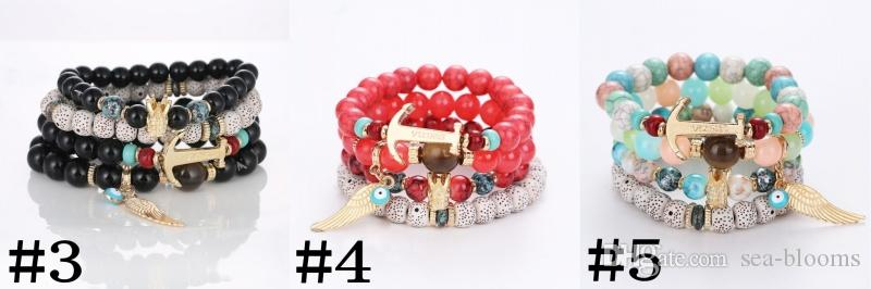 5 Styles Bohemian Fashion Colorful Stretch Bead Multilayer Bracelets With Angel Wing Crown Lucky Gift for Women Free DHL B625S